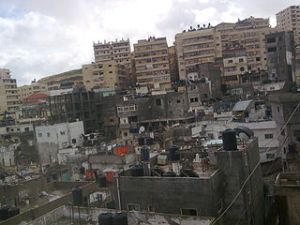Shuafat, in front parts of the old refugee camp, in the back, the new buildings